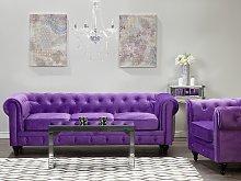 Chesterfield Living Room Set Purple Velvet Fabric