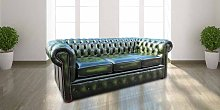 Chesterfield London 3 Seater Antique Green Leather