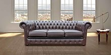 Chesterfield London 3 Seater Brown Leather Sofa