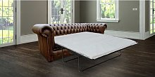 Chesterfield london 3 Seater Brown Leather SofaBed