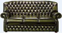 Chesterfield Monks 3 Seater Sofa Antique Olive