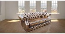 Chesterfield Oxford 3 Seater Antique Gold Leather