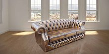 Chesterfield Oxley 3 Seater Antique Gold Leather