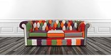 Chesterfield Patchwork 3 Seater Settee Leather