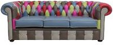 Chesterfield Patchwork Vele 3 Seater Settee