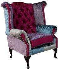 Chesterfield Patchwork Velvet Queen Anne Wing
