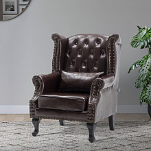Chesterfield PU Leather Wingback Armchair With