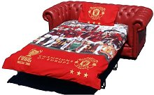 Chesterfield Red Leather Manchester United Sofabed