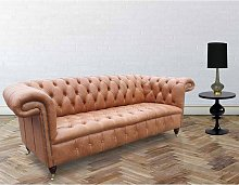 Chesterfield Regency 3 Seater Leather Sofa Old