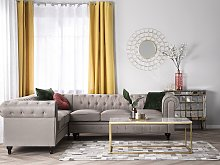 Chesterfield Right Hand Fabric Corner Sofa Beige