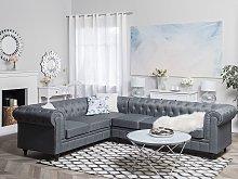 Chesterfield Right Hand Fabric Corner Sofa Grey