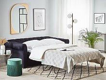 Chesterfield Sofa Bed Black Velvet Fabric