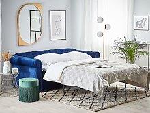 Chesterfield Sofa Bed Blue Velvet Fabric
