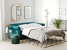 Chesterfield Sofa Bed Green Velvet Fabric