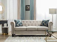 Chesterfield Sofa Beige Fabric Upholstery Dark