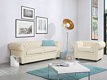 Chesterfield Sofa Beige Genuine Leather 3 Seater