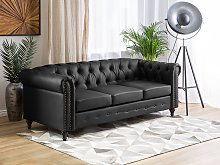 Chesterfield Sofa Black Faux Leather Upholstery