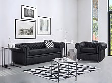 Chesterfield Sofa Black Genuine Leather 3 Seater