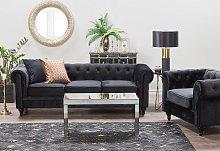Chesterfield Sofa Black Velvet Fabric Upholstery