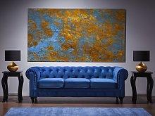 Chesterfield Sofa Blue Velvet Fabric Upholstery