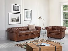 Chesterfield Sofa Brown Faux Leather Black Legs 3