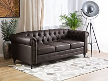 Chesterfield Sofa Brown Faux Leather Upholstery