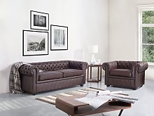 Chesterfield Sofa Brown Genuine Leather 3 Seater