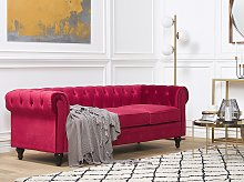 Chesterfield Sofa Dark Red Velvet Fabric