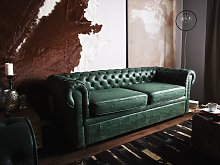 Chesterfield Sofa Green Faux Leather Upholstery
