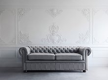 Chesterfield Sofa Grey Genuine Leather Upholstery