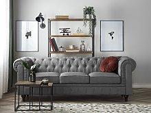 Chesterfield Sofa Light Grey Fabric Upholstery