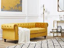 Chesterfield Sofa Mustard Yellow Velvet Fabric