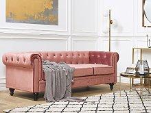 Chesterfield Sofa Pink Velvet Fabric Upholstery