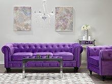 Chesterfield Sofa Purple Velvet Fabric Upholstery