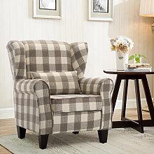 Chesterfield Tartan High Back Armchair With