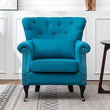 Chesterfield Tub Chair Armchair With Cushion, Blue
