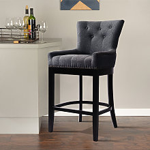 Chesterfield Upholstered Bar Stool Dining Breakfast Chair Stool Fabric