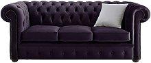 Chesterfield Velvet Fabric Sofa Malta Amethyst