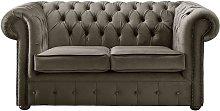 Chesterfield Velvet Fabric Sofa Malta Taupe Beige