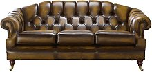 Chesterfield Victoria 3 Seater Leather Sofa Settee