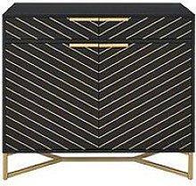 Chevron 2 Door, 2 Drawer Sideboard - Black/Gold