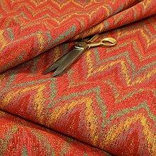Chevron Striped Chenille Red Green Orange Yellow