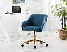 Chewning Desk Chair Blue Elephant Upholstery