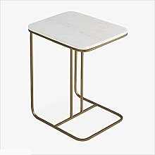 CHGDFQ Wrought Iron + Marble Side Table Coffee