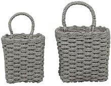 Chic Antique - Braided Basket w. Handle Set of 2