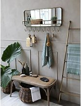 Chic Antique - French Rustic Bench With Wicker Seat