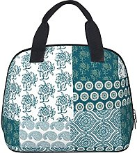 Chic Ethnic Faux Patchwork Pattern,Teal and White