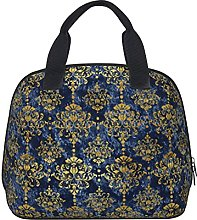 Chic Faux Gold and Blue Damask Waterproof