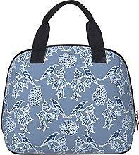 Chic Indigo Blue Ethnic Floral Print Waterproof