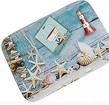 Chic Nautical Blue Anchor Stripes Bathroom Doormat